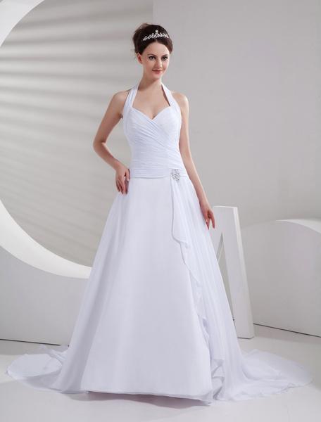 Milanoo Amazing White Halter A-line Chiffon Sweep Wedding Dress
