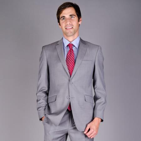 Mantoni Mens Slim Fit Light Grey Sharkskin 2Button Wool Suit