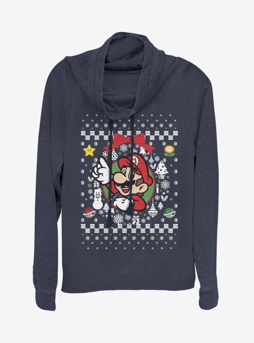 Nintendo Super Mario Wreath Mario Christmas Pattern Cowlneck Long-Sleeve Womens Top