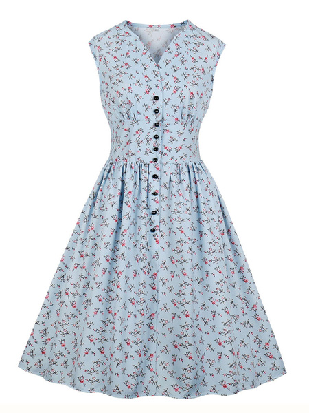 Milanoo Floral Vintage Dress Sleeveless 1950s Fashion Retro Dress V Neck Swing Dress