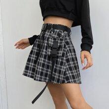 Plaid Flap Pocket Self Tie Skirt