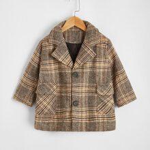 Mantel mit Revers Kragen, Taschen Klappe und Plaid Muster