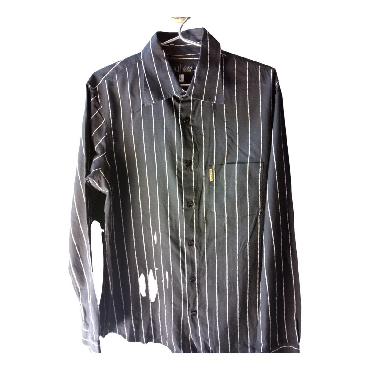Armani Jean - Chemises   pour homme en coton - noir