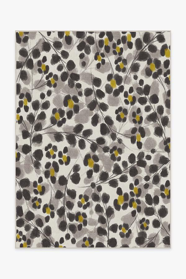 Washable Rug Cover   Rosette Yellow Rug   Stain-Resistant   Ruggable   5'x7'