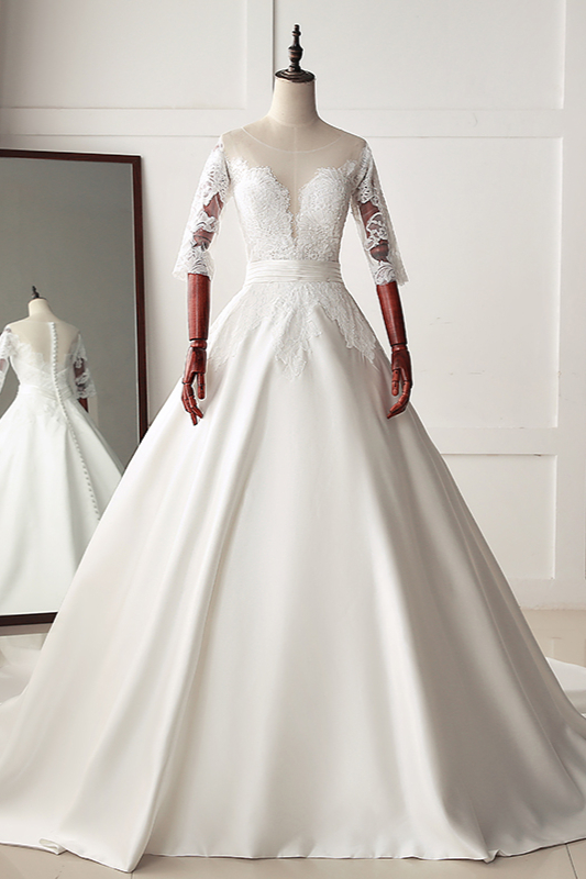 BMbridal Stunning Jewel Satin Tulle White Wedding Dress Half Sleeves Appliques Bridal Gowns Online