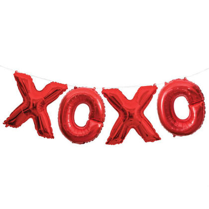Lettre Foil ballon bannière rouge XOXO 14