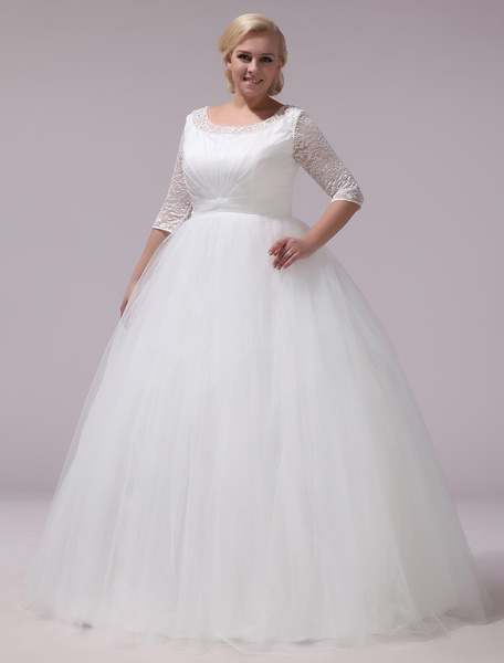 Milanoo Plus Size Wedding Dresses Tulle Lace Half Sleeve Bridal Gown Ivory A Line Round Neck Back Design Floor Length Bridal Dress