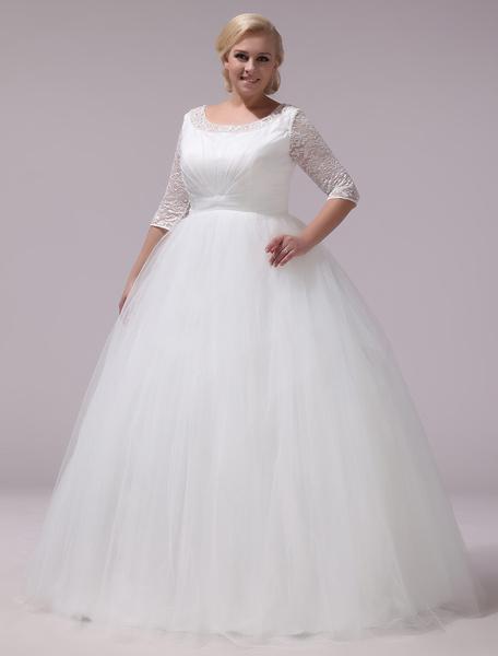 Milanoo Vestido de novia de tul de color marfil con escote redondo de estilo clasico
