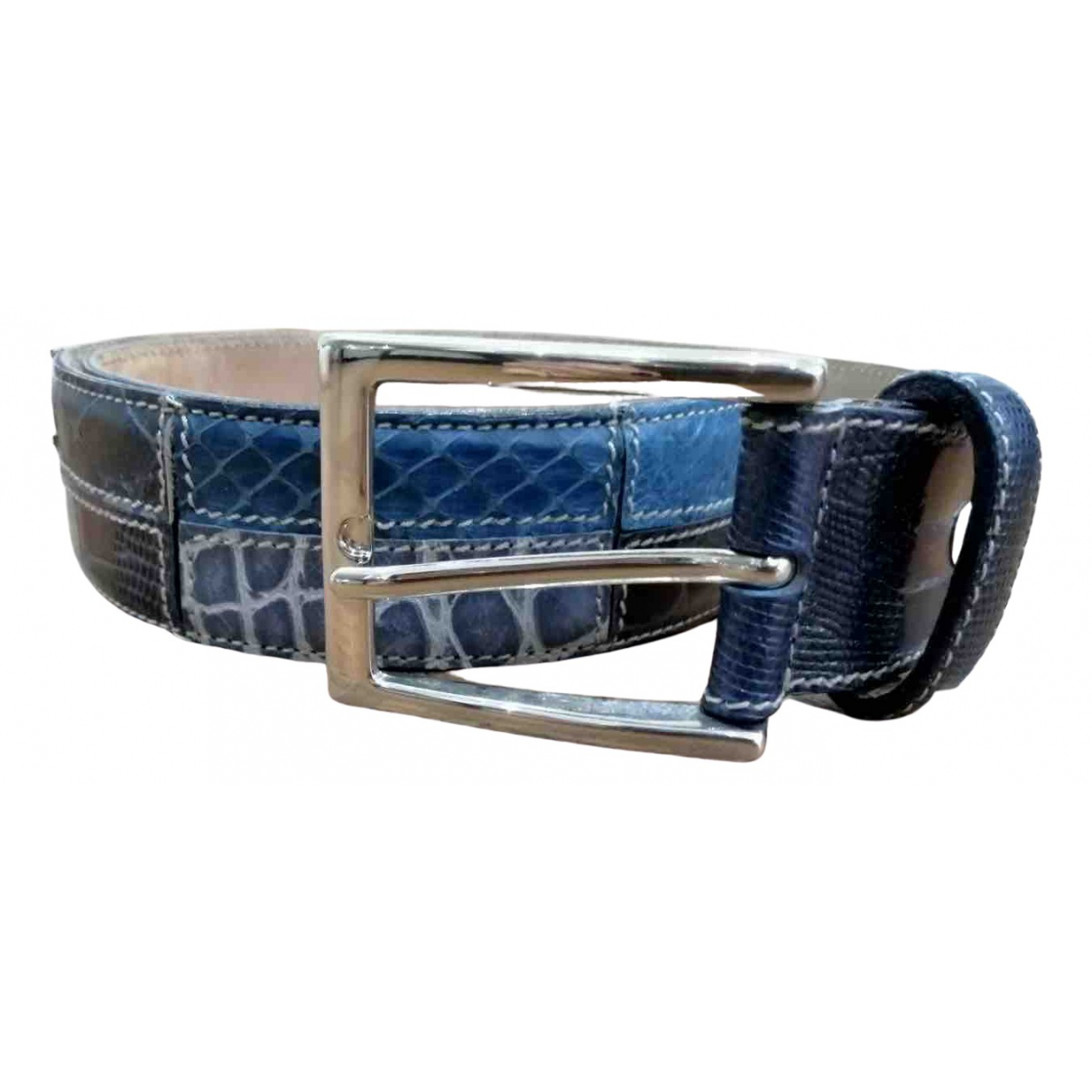 Non Signé / Unsigned \N Blue Leather belt for Women 70 cm