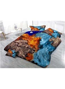 Wild Lion Wear-resistant Breathable High Quality 60s Cotton 4-Piece 3D Bedding Sets