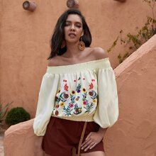 Floral Embroidered Shirred Frill Bardot Blouse