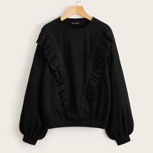Pullover mit Laternenaermeln, Spitzen und Ose Stickereien