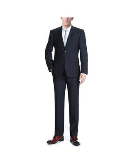 Mens Black Two Buttons Single breasted Wool Slim Fit Two Piece Suit