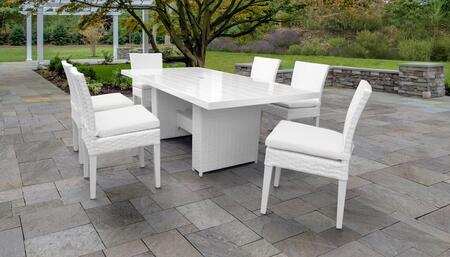 MONACO-DTREC-KIT-6C-WHITE Monaco 7-Piece Outdoor Patio Dining Set with Rectangular Table + 6 Side Chairs - 2 Sail White