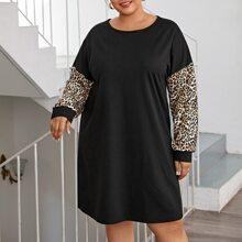 T-Shirt Kleid mit Kontrast und Leopard Muster