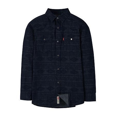 Levi's Big Boys Long Sleeve Western Shirt, Large , Blue