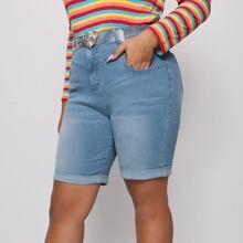 Shorts denim de talla grande Boton Liso Casual