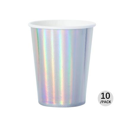 Tasse de papier brillante pour parti, argentée holographique, 9oz, 10pcs - LIVINGbasics™