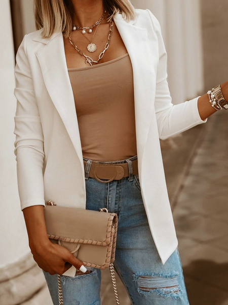 Milanoo Blazer para mujer Chaqueta casual de algodon de manga larga con cuello descubierta blanca