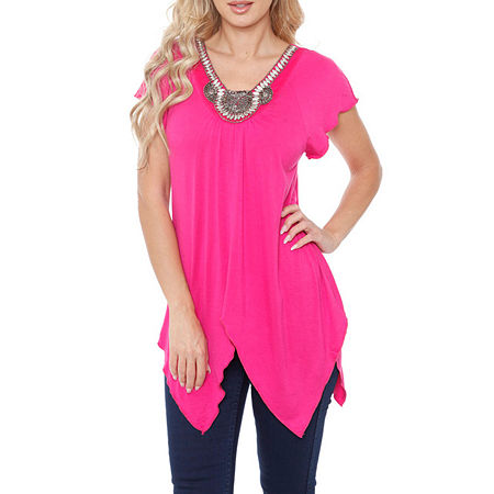 White Mark Womens V Neck Short Sleeve Tunic Top, Medium , Pink