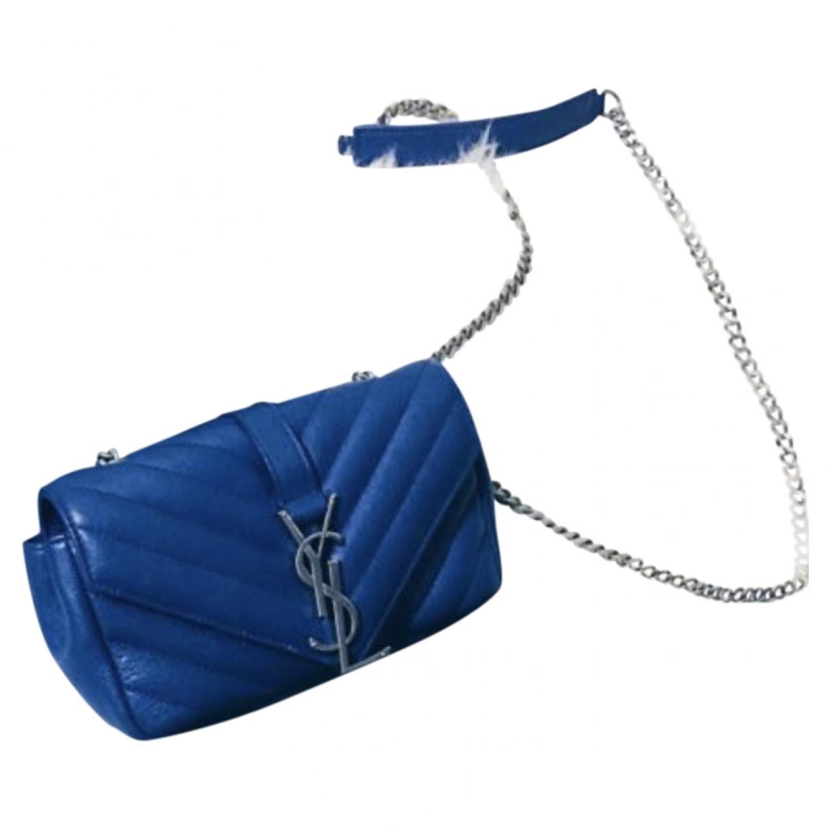 Saint Laurent Baby monogramme Handtasche in  Blau Leder