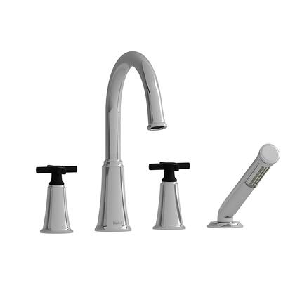 Momenti MMRD12+CBK 4-Piece Deck Mount Tub Filler with Cross Handles and Hand Shower  in
