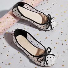 Toddler Girls Bow Knot Decor Polka Dot Flats