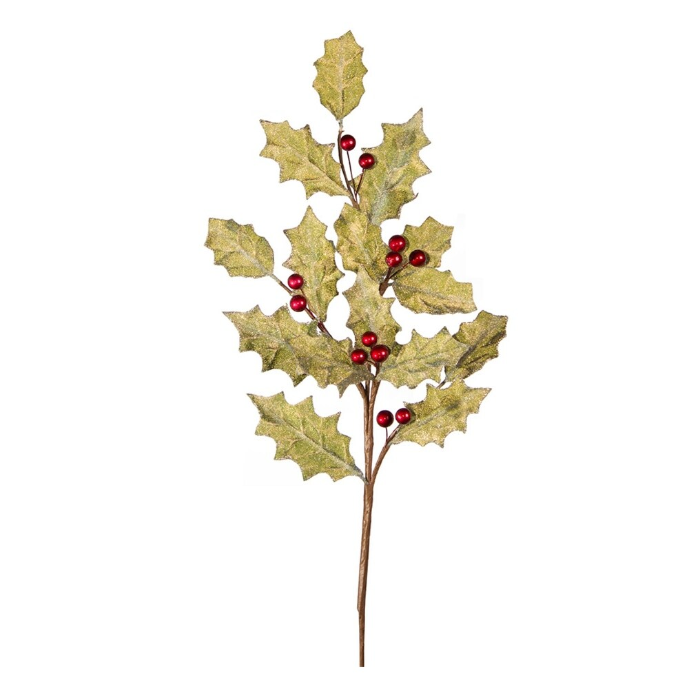 Pack of 12 Yellow Leaves and Red Berries Artificial Polyester Holly Spray, 33