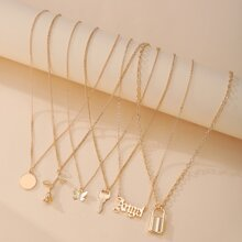6pcs Lock & Butterfly Charm Necklace