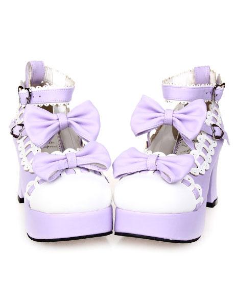 Milanoo Sweet Chunky Heels Lolita Shoes Platform Bows White Trim Ankle Strap Heart Shape Buckles