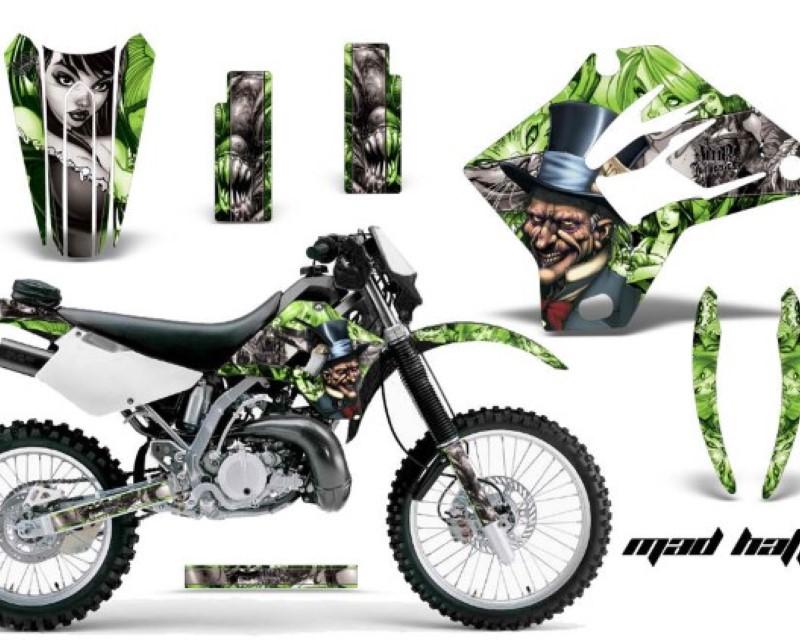 AMR Racing Dirt Bike Graphics Kit Decal Sticker Wrap For Kawasaki KDX200 1995-2006 HATTER SILVER GREEN