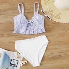 Bikini mit Streifen, Raffung und hoher Taille