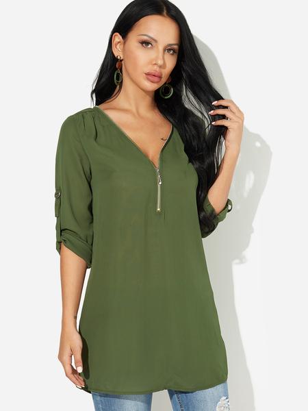 Yoins Green V-neck Zip Design Adjustable Sleeve Length Blouse