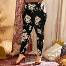 Plus High Waist Floral Print Leggings