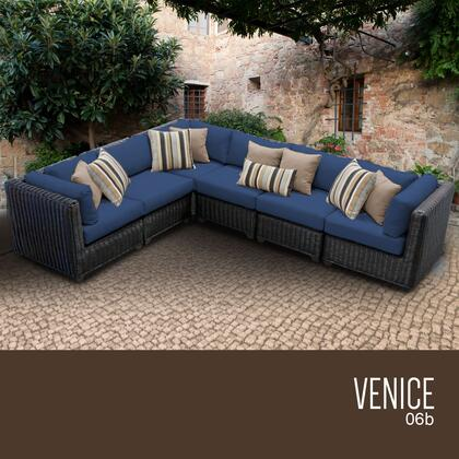 VENICE-06b-NAVY Venice 6 Piece Outdoor Wicker Patio Furniture Set 06b with 2 Covers: Wheat and