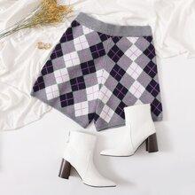 Plus Plaid Print Knit Shorts