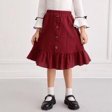 Toddler Girls Flounce Hem Button Detail Solid Skirt