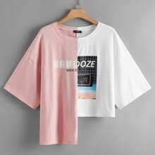 T-Shirt mit Grafik Muster, Schritt Saum und Farbblock