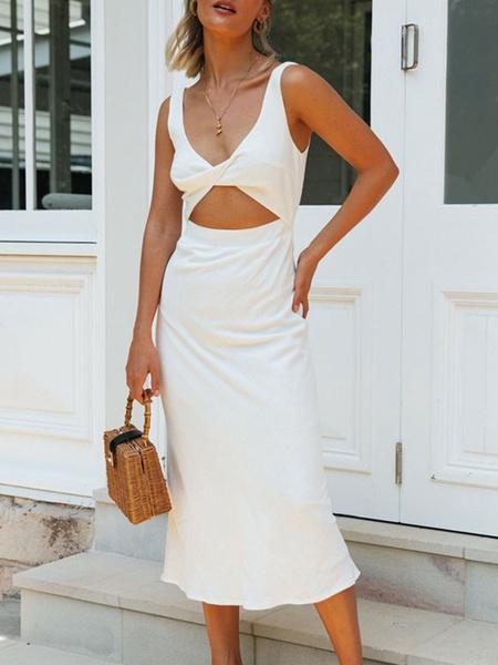 Milanoo Summer Dress V Neck Cut Out Sleeveless Bodycon Dress