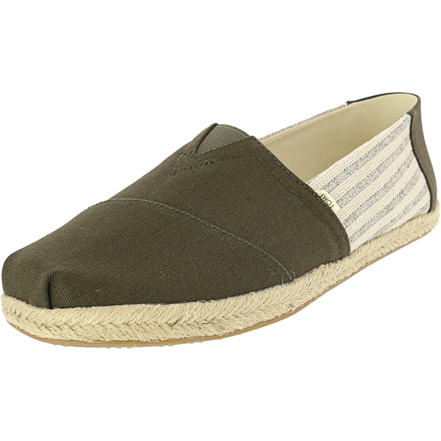 Toms Men's Classic Rope Sole Tarmac Ivy League Stripes Ankle-High Fabric Slip-On Shoes - 11.5M