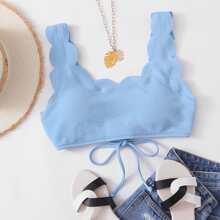 Texturiertes Bikini Top mit Bogenkante