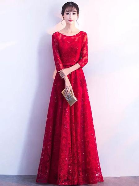 Milanoo Black Prom Dresses Long Lace Sequin Evening Dress Half Sleeve Illusion Sash Floor Length Formal Gowns