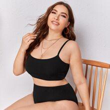 Texturierter Bikini Badeanzug mit hoher Taille