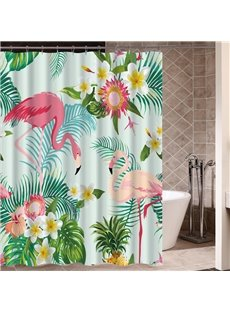 Flamingo&Plants Pattern Mildew Resistant Waterproof Bathroom Shower Curtain