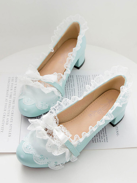 Milanoo Sweet Lolita Pumps Lace PU Leather Chunky Heel Lolita Shoes