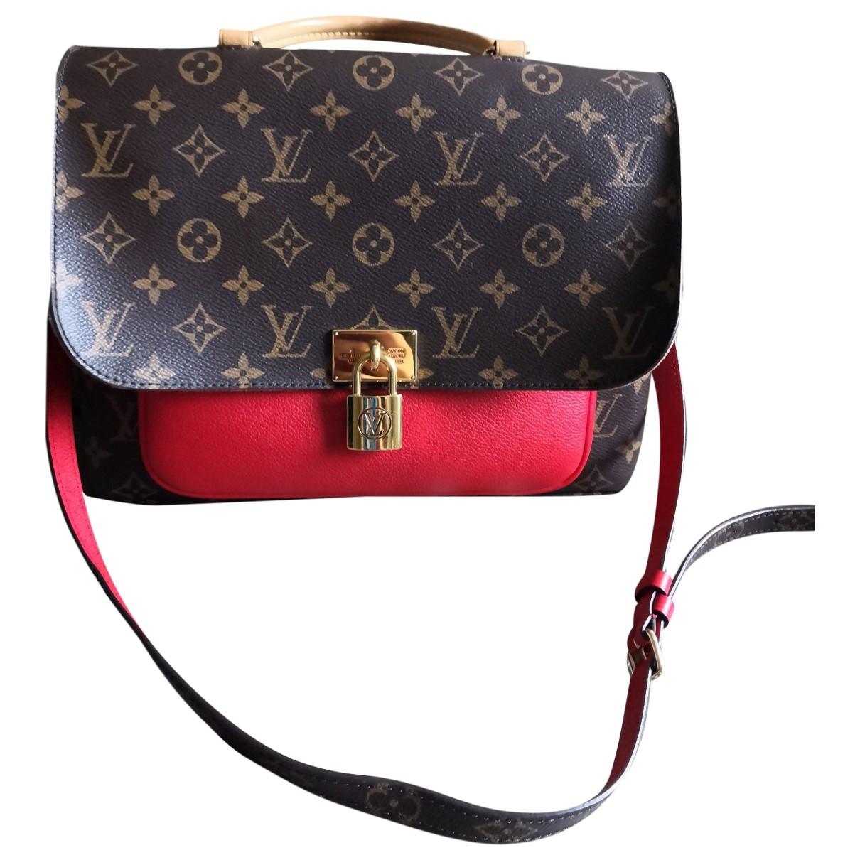 Louis Vuitton Marignan Handtasche in  Rot Leinen