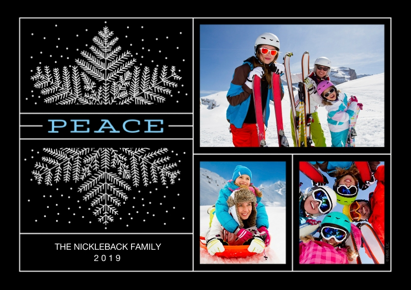 Holiday Photo Cards 5x7 Cards, Premium Cardstock 120lb with Scalloped Corners, Card & Stationery -2019 Snowflake & Peace by Hallmark