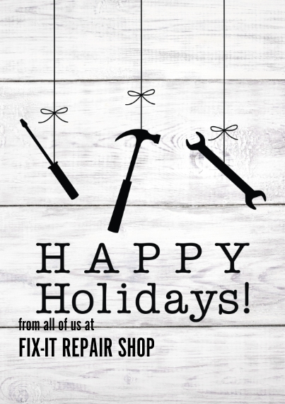 Construction & Repair Flat Business Greeting Cards, Business Printing -Holiday Tools