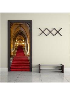 30×79in Red Long Rug in Hall PVC Environmental and Waterproof 3D Door Mural