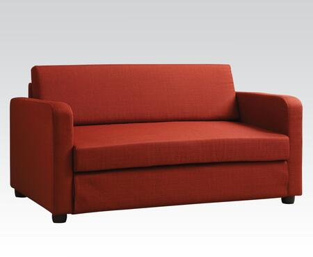 Connall Collection 57086 Adjustable Sofa with Removable Cushions  Track Arms  Wood Frame  Plastic Legs and Fabric Upholstery in Red